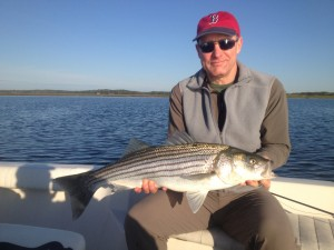 """Greg Bibler with 30"""" bass on fly, 5/18/13"""